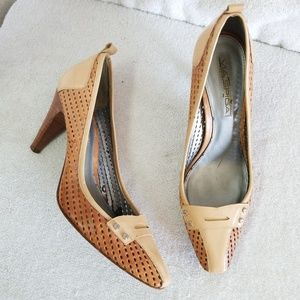 Via Spiga perforated & patent high heel pumps
